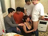 Amalia gangbanged by guys at home