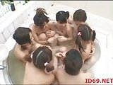 Japanese sluts blowing cock