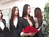 Four babes play with guy in the office