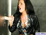 Cumshot loving raven gets bukkake at gloryhole