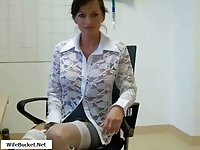 Titty brunette gave head in the office