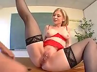 Mature teacher rides on dude tool