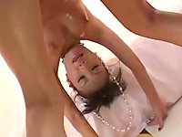 Japanese teen gets her pussy creamed