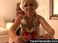 Blond whore gives handjob