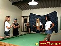 Gang of trannies playing pool