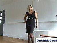 CFNM handjob from hot blonde
