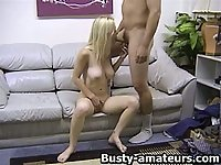 Busty blonde Candaces gives blowjob