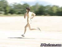 Jap girls run a nude track and field