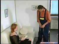 Handyman forced to fuck russian mature