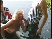 Filthy Guys While Fishing Fuck Old Woman
