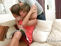 Cute chick bounds on hard cock scene 16