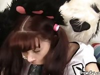 Teen Slides Her Pussy Down Pandas Big Dong