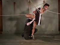 Ebony slaves master ties her up from the ceiling