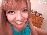 Japanese teenie sucks POV cock