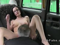 Pierced nipples amateur fucked in fake taxi