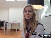 Teen Schoolgirl Gets Creampied