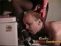 Sexy brunette interrogates a loser with her special bdsm technique