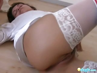 Sexy Allison plays with her huge vibrator