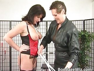 Horny old slut gives a lot of pleasure to some tied up chick