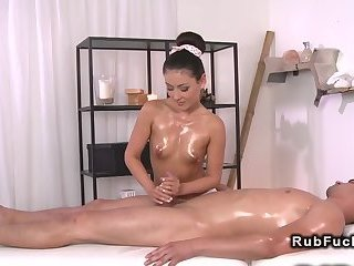Hot masseuse giving handjob and drilling customer