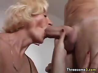 Blonde Granny In A Threesome